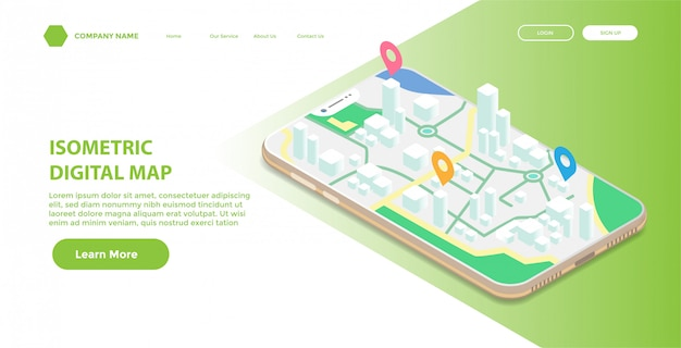 Landing page or web template with isometric illustration of mobile digital map