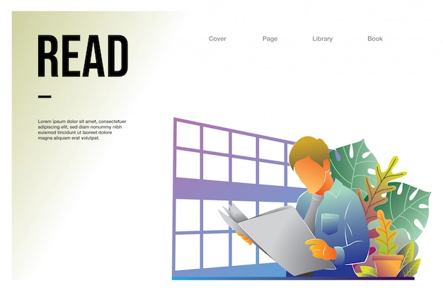 Landing page web template with man reading at library