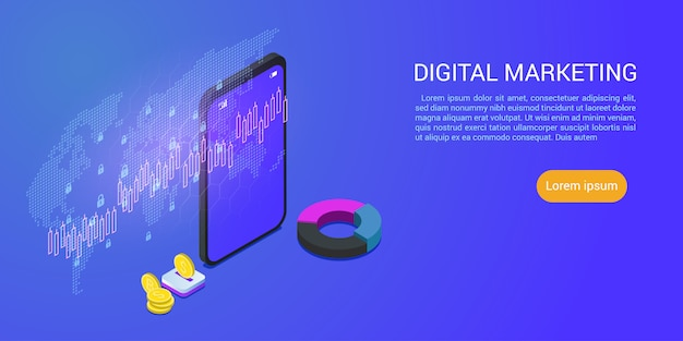 Landing page or web template with modern design isometric concept of digital marketing business