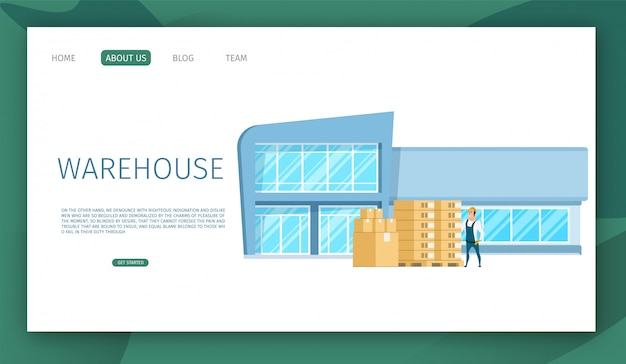 Landing page web template with modern glass working warehouse building design