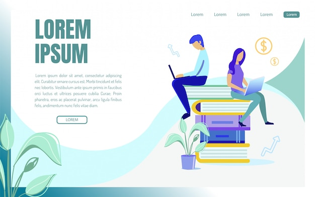 Landing page web template with people generating ideas, cartoon.