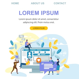Landing page web template with people internet communication, social media