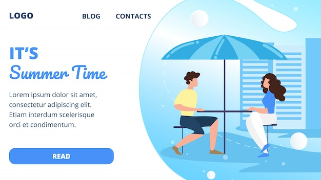 Landing page web template with people visitors sitting in modern summer time cafe on city street street.