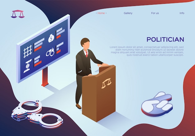 Landing page web template with politician bribery in power.