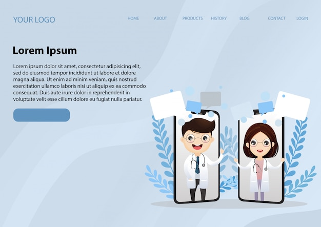 電話スクリーンに笑みを浮かべて医者とランディングページwebテンプレート。医療インターネット相談ヘルスケアコンサルティングwebサービス。オンライン病院サポート