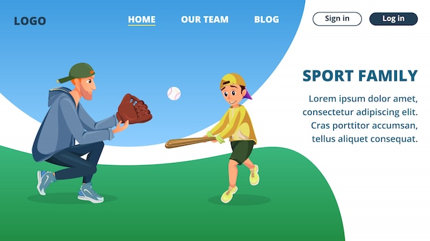 Landing page web template with sport family cartoon dad and son play baseball
