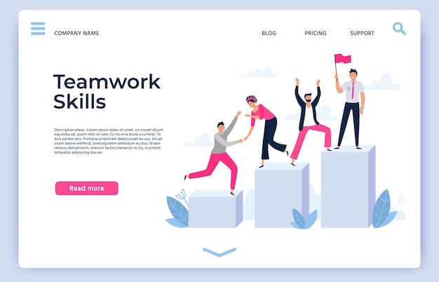 Landing page or web template with successful team