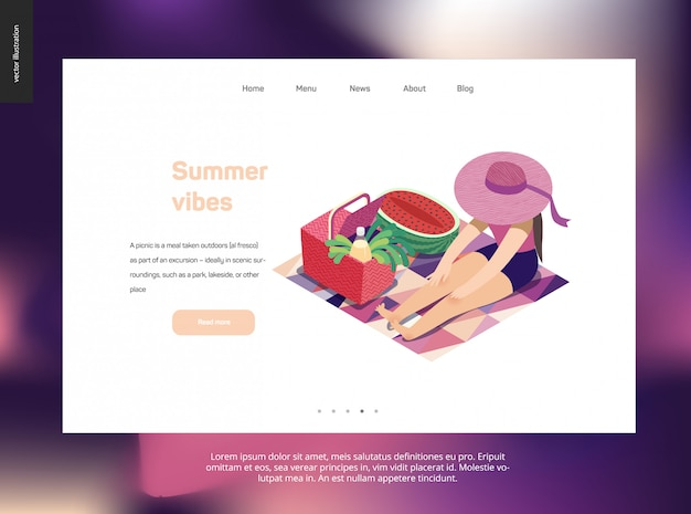 Landing page web template with summer picnic theme
