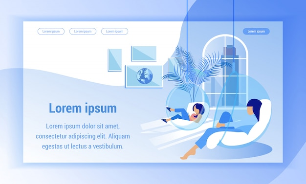 Landing page web template. women relax in transparent round hanging chairs.