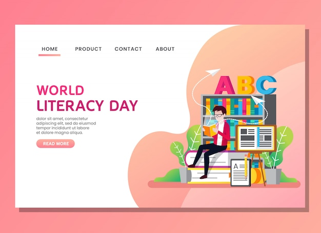 Landing page or web template. world literacy day with man reading a book