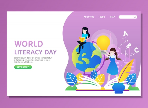 Landing page or web template. world literacy day with woman reading