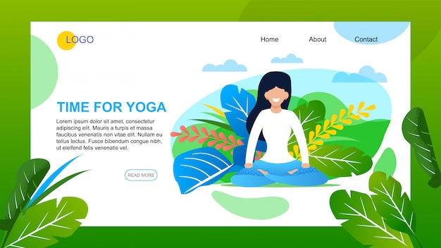 Landing page web template for yoga, outdoors activity on summer vacation, holidays