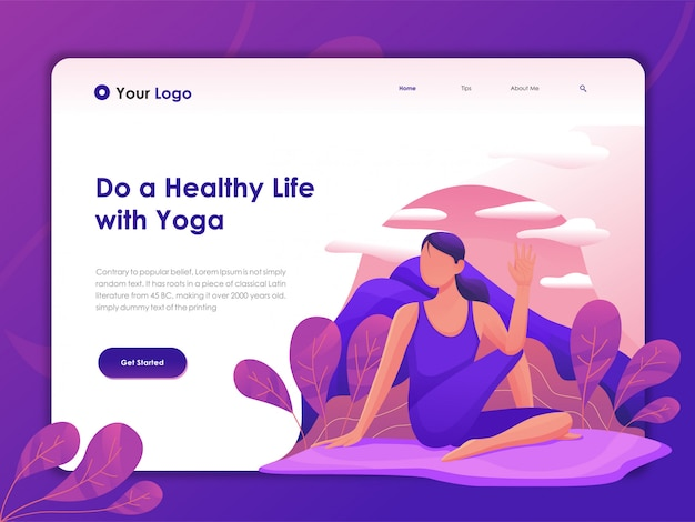 Landing page web template for yoga
