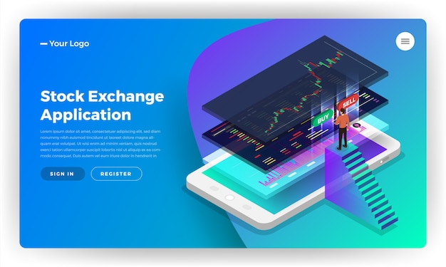 Landing page website design concept stock exchange mobile application