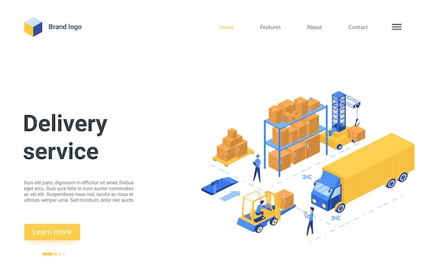 Landing page website design with cartoon worker characters work on loader forklift