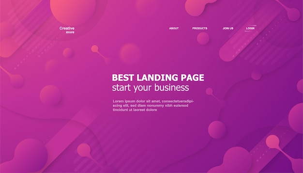 Landing page for website in fluid style.