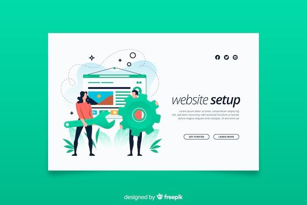 Landing page website setup concept