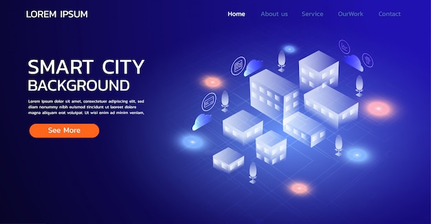 Landing page website. smart city concept