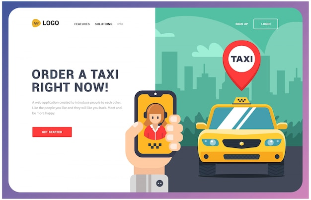 Landing page website for a taxi service