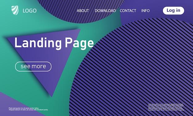 Целевая страница. шаблон веб-сайта. абстрактный фон. целевая страница веб-дизайна. модный градиентный плакат.