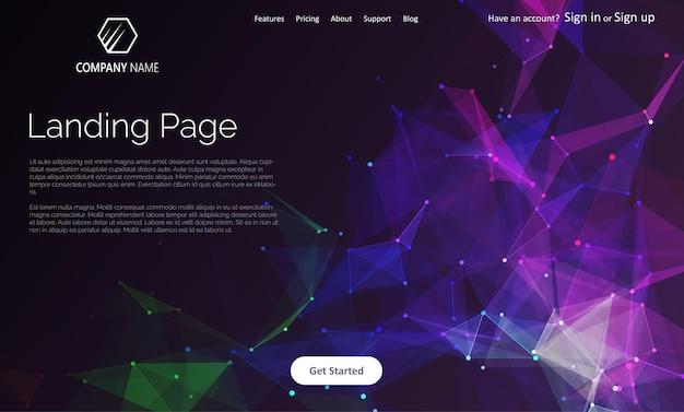抽象的な低ポリデザインのランディングページのウェブサイトテンプレート