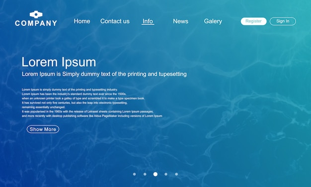 Landing page website template with abstract water shape background