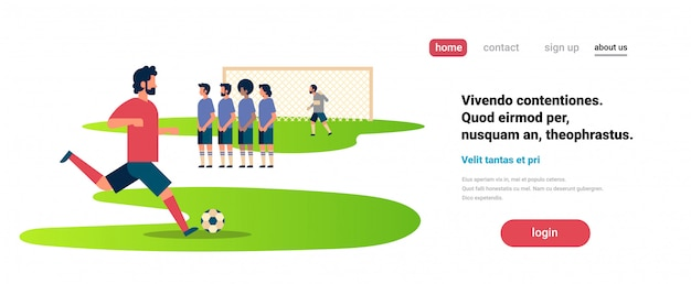 Landing page or website template with football illustration, sport theme