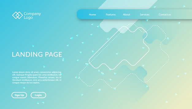 Landing page website template with geometric shape design