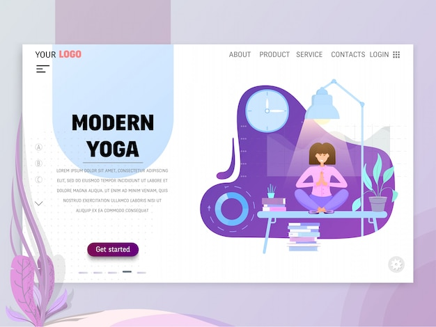 Landing page or website template with scenes of active life in an urban environment.