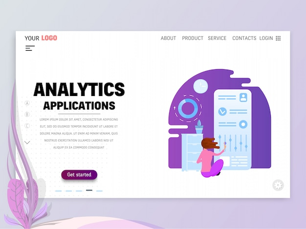 Landing page or website template with scenes of active life in an urban environment