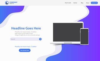 Landing Page Website Vector Template Design