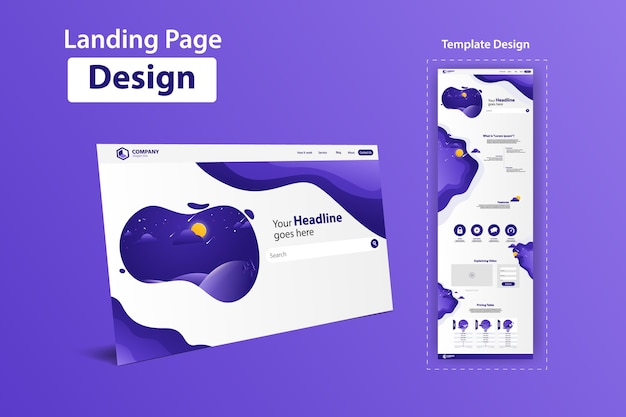 Landing page website vector template design