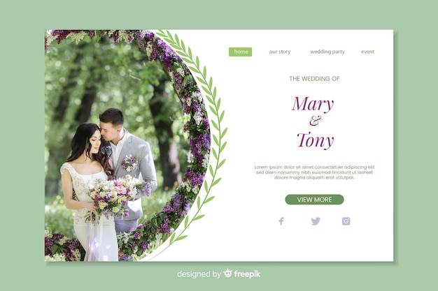 Landing page wedding with image template