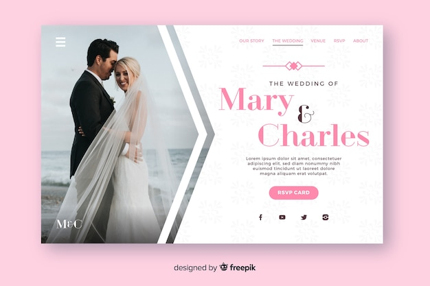 Landing page wedding with photo template
