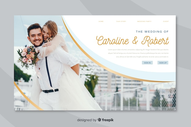 Landing page wedding with photo