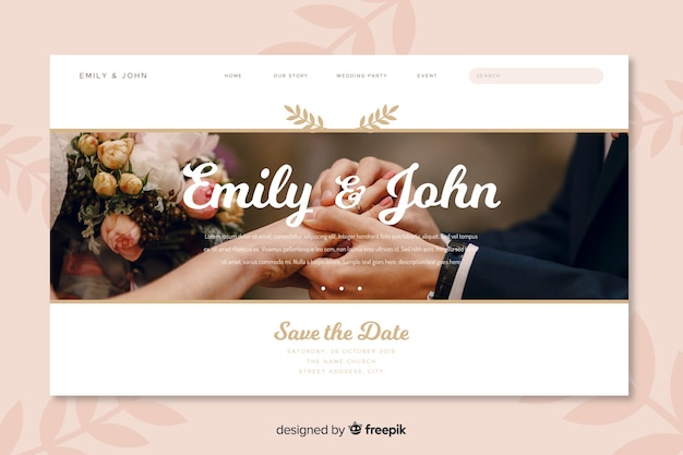 Landing page wedding with picture