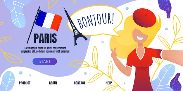 Landing page welcoming to paris with happy woman