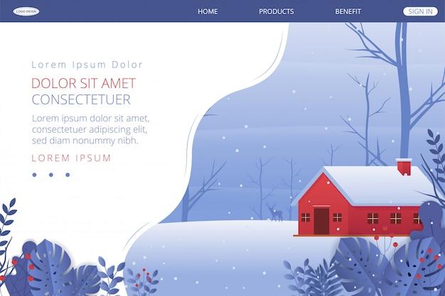 Landing page winter landscape.  illustration