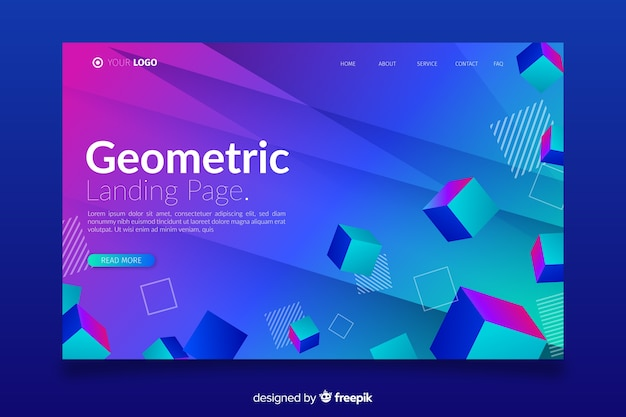 Landing page with 3d cubes
