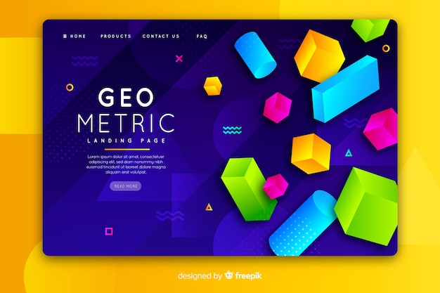 Landing page with 3d geometric items
