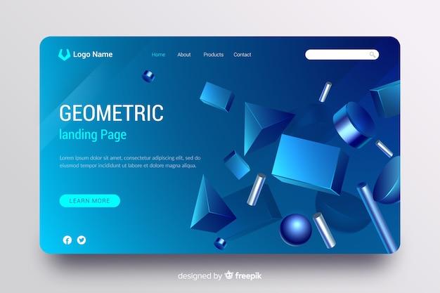 3d幾何モデルを含むランディングページ 無料ベクター