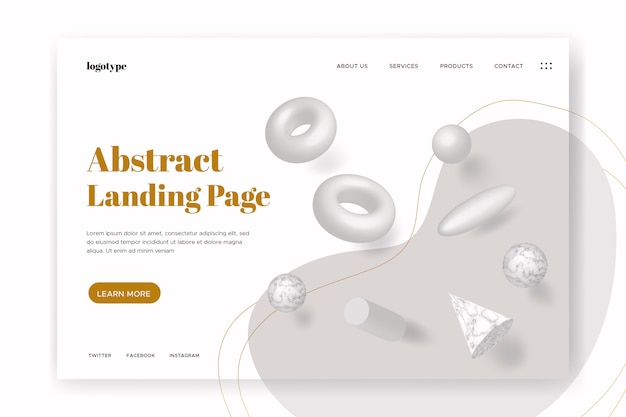 Landing page with 3d geometric shapes
