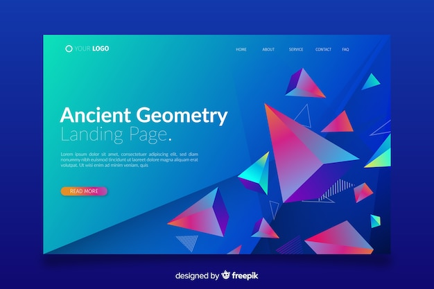 Landing page with 3d piramyds