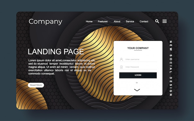 Landing page with abstract background