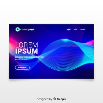 Landing page with abstract lineal shapes