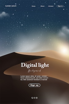 Landing page with abstract night and sky light with desert and star