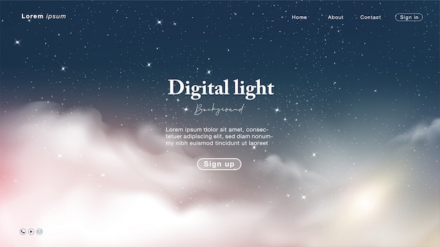 Landing page with abstract night and sky sweet light with star and cloud