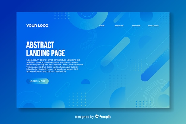 Landing page with abstract shapes