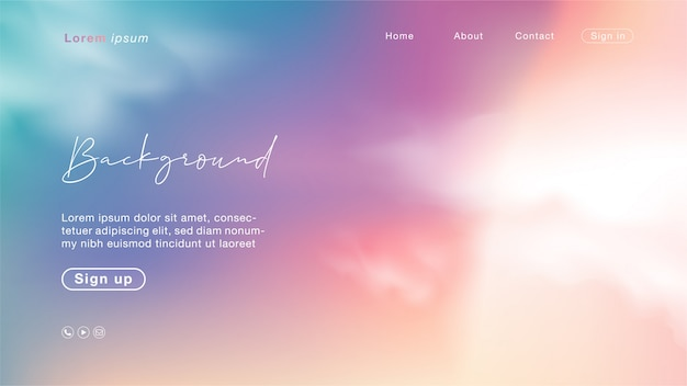 Landing page with abstract sunset like a candy sky. unicorn color with cloud.
