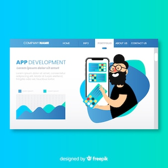 Landing page with app development concept